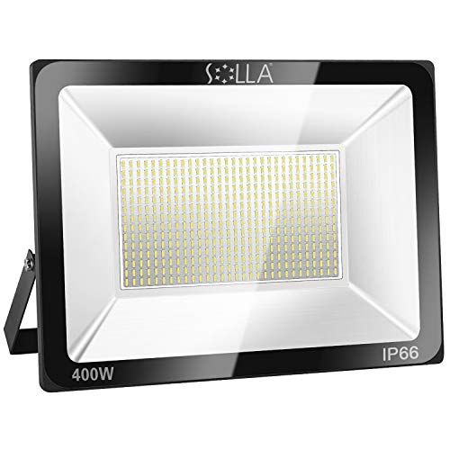 SOLLA 400W LED Flood Light, IP66 Waterproof, 32000lm, 2140W Equivalent, Super Bright Outdoor Security Lights, 6000K Daylight White, Floodlight Landscape Wall Lights