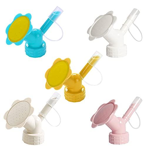 AODOOR 5PCS Sprinkler Kopf, Bewässerung Kunststoff Sprinklerdüse, 2 in 1 Flasche Deckel Sprinkler Doppelkopf Duschkopf, Gießaufsätze für 28mm Flaschen Blumen Bewässerung Duschkopf Garten Werkzeug