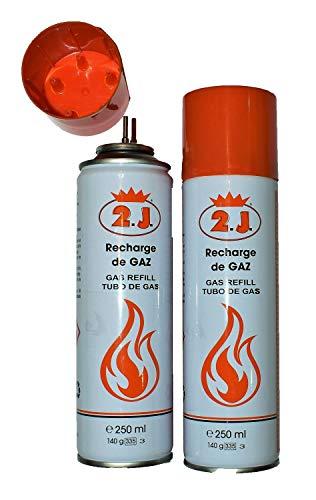 2J Lot de 2 Recharges pour briquets gaz , Challumeau De Cuisine, Allume Gaz, Kit De Patisserie,Feu, Recharge Butane,Bonbonne, Bouteille, Chargeur ou...