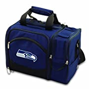 NFL Malibu insulated cooler with deluxe picnic service for two, in team colors with digital team logo Includes picnic service and wine and cheese tools for two Digital print team logo Durable polyester canvas Easy care; wipe clean