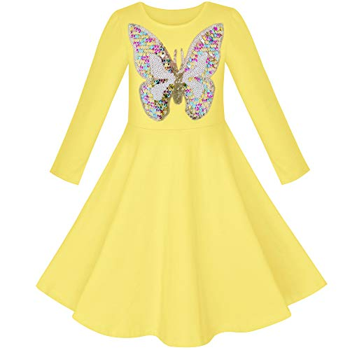 Vestido para niña Amarillo Mariposa Manga Larga Casual Algodón 5 años