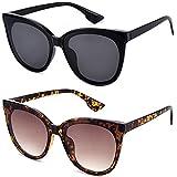 mosanana Retro Vintage Cateye Gafas de sol para mujer estilo clásico, (Black+tortoise), Medium