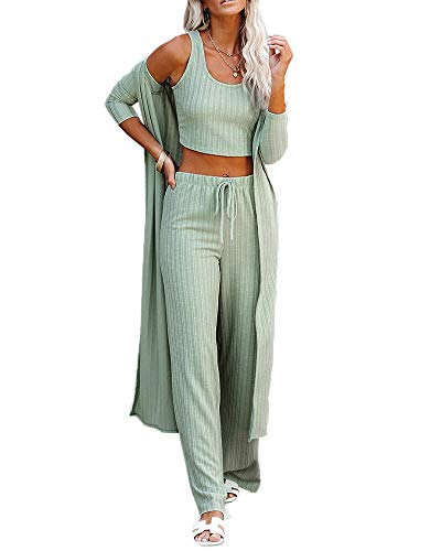 Womens Pajamas Set Spring Summer 3 Piece Loungewear Set Crop Vest Top Loose Pants and Cardigan Knitwear Jumpsuit