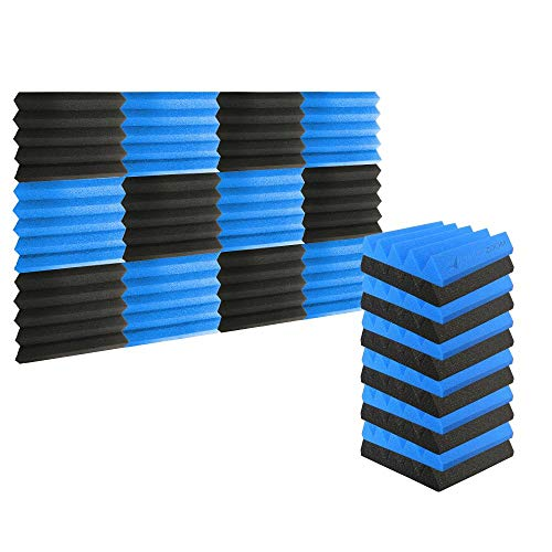 Super Dash (12 Stück) 25 X 25 X 5 cm Keil AKUSTIKNOPPENSCHAUM Studio Behandlung Wand Panel Fliesen dd1134, schwarz/blau, 25 X 25 X 5 cm