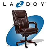 La-Z-Boy Edmonton Big and Tall Executive Office Chair with Comfort Core Cushions, Solid Wood Arms and Base, Waterfall Seat Edge, Bonded Leather, Big & Tall, Brown