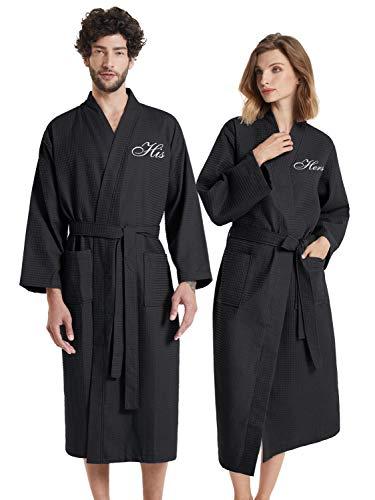 AW BRIDAL Albornoz negro con gofres de felpa Albornoz de toalla Albornoz Kimono Conjunto de bata para parejas, él y ella