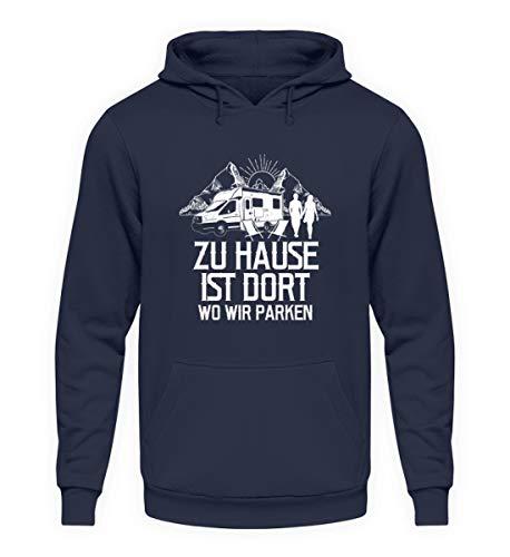 shirt-o-magic Wohnmobil: Zuhause = Wo wir parken - Unisex Kapuzenpullover Hoodie -XXL-Oxford Navy