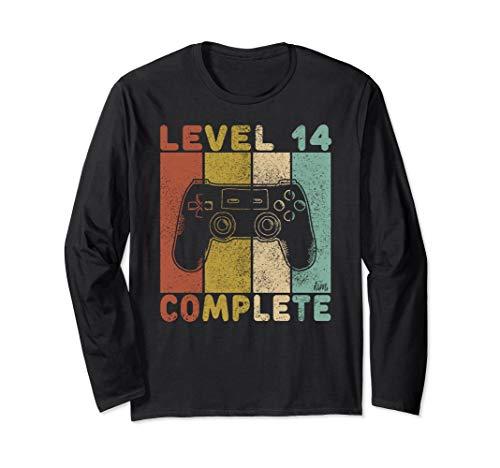 14. Geburtstag Jungen Shirt Gamer TShirt Level 14 Complete Langarmshirt