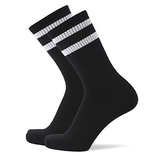 SOFTWEARY Tennissocken Damen & Herren Performance Crew Sportsocken (3x Paar) Retro Socken (3x Schwarz(Weißer Streifen), 43-46)