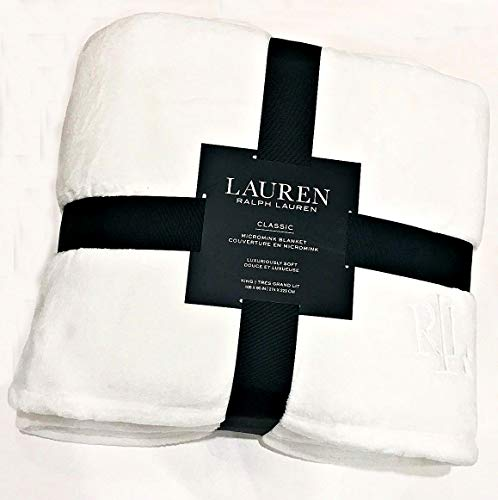 Ralph Lauren Classic Embroidered Monogram Full/Queen Velvety Soft Micromink Bed Blanket | Snow White