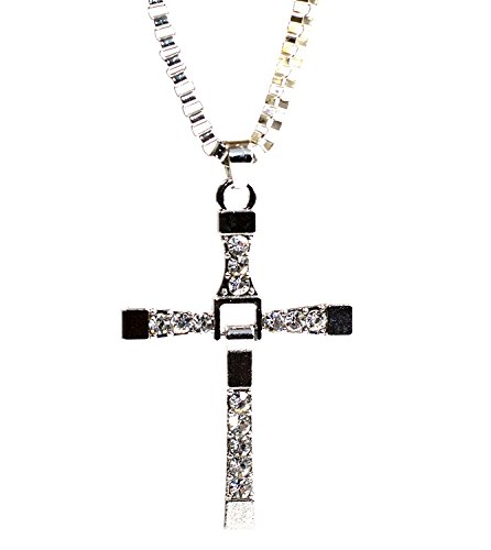 Beaux Bijoux The Fast and The Furious Toretto Classic Style Movie Inspired Vin Diesel Cross Rhinestones Men's Jewelry Pendant Chain Necklace in Gift Box