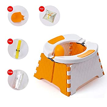 Honboom Portable Potty Training Seat for Toddler | Kids Travel Potty | Foldable Toilet Seat | Baby Potty Seat for Indoor and Outdoor  Orange