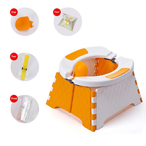 Honboom Portable Potty Training Seat for Toddler | Kids Travel Potty | Foldable Toilet Seat | Baby Potty Seat for Indoor and Outdoor (Orange)
