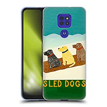 Head Case Designs Officially Licensed Stephen Huneck Sled Snow Dog Soft Gel Case Compatible with Motorola Moto G9 Play