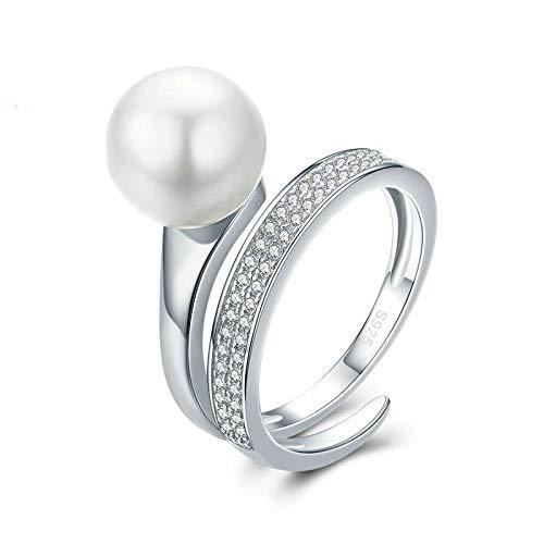 JIARU Anillo de plata de ley 925 ajustable para mujer, anillo simple de moda y chapado en oro blanco diamante y perla anillo de boda para niña anillo de dedo abierto regalo