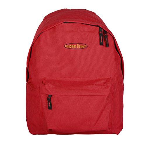 Super Rucksack, Schultasche, Sporttasche in rot - mit Goodman Design Logo - leichter Rucksack
