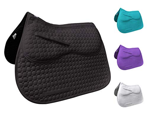 Derby Originals Extra Comfort All Purpose English Saddle Pad with Removable Memory Foam, Black