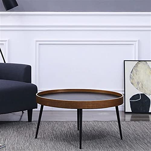 ZOYAFA Mesa de centro redonda minimalista simple moderna de madera de metal fundido sofá mesa auxiliar muy bonita decoración para el hogar (color: 75 x 45 cm)
