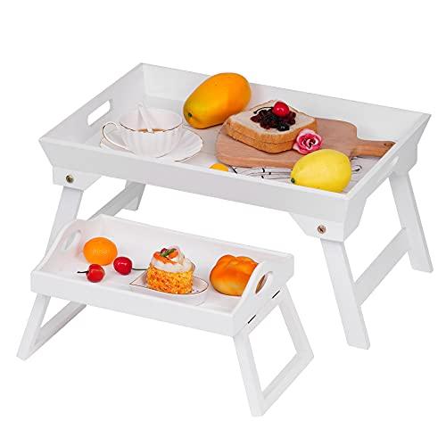Optyuwah 2er Betttablett klappbar und sofatablett Armlehnen aus Holz Betttisch als Frühstücksbrett im Bett, Sofatisch, TV-Tisch, Laptop-Tablett, Snack-Tablett - 48x32cm und 30x20cm (weiß)