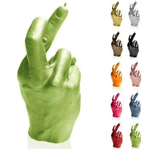 Candellana Kerze Gekreuzte Finger   Höhe: 19,4 cm   Limette   Brennzeit 30h   Kerzengröße gleicht 1:1 Einer realen Hand   Handgefertigt in der EU