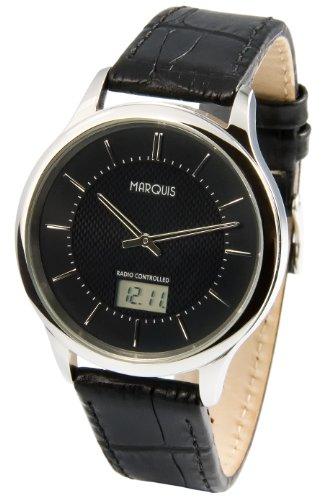 Elegante MARQUIS Herren Funkuhr (Junghans-Uhrwerk) Edelstahlgehäuse, Schwarzes Lederarmband 964.6019