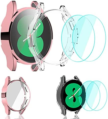 SunStory [2+2 Packs] Compatible with Samsung Galaxy Watch 4 40mm Case Built-in Screen Protector,Galaxy Watch 4 Case 40mm with Tempered Glass Screen Protector [2 Packs],TPU PC 40mm Case. (Pink)