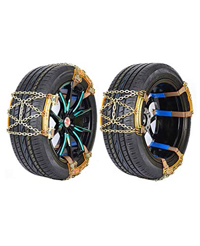 YW 6Pcs Snow Chains Snow Chains Snow Chains, Universal Emergency Anti-Slip Chains, Universal 175-205mm Wide Tires Adjustable for Cars/Trucks/SUVs