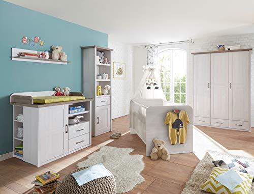 Babyzimmer Luca in Pinie Weiß und Trüffel 4 teiliges Superset mit Schrank, Bett mit Lattenrost, Wickelkommode und Standregal