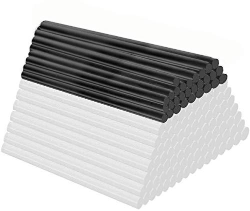 Barras de Pegamento Termofusible,Barras de pegamento adhesivo fuerte de 7 * 100 mm,100 piezas (70 piezas transparente y 30 piezas negro) para uso diario en el hogar