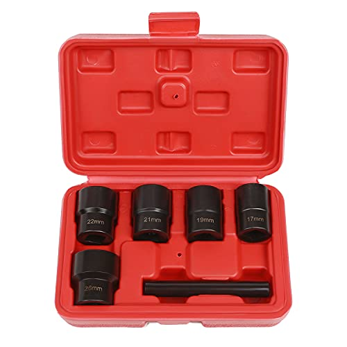 Eapele Impact Bolt Nut Removal Extractor Socket Tool Set with Center Punch Bar (6pcs)
