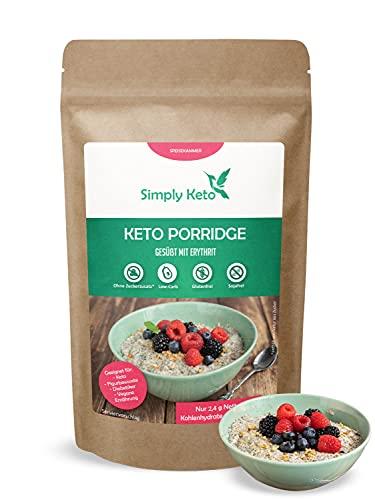 Simply Keto Porridge ohne Zucker - 95% weniger Kohlenhydrate - Ohne Haferflocken - Geeignet für Low Carb Frühstück & Ketogene Ernährung - Paleo, Vegan & Glutenfrei - (260g)