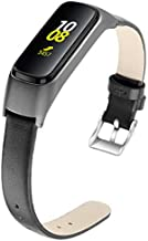 Aresh Compatible with Samsung Galaxy Fit Bands, Soft Leather Strap Replacement Wristband for Samsung Galaxy Fit SM-R370 Fitness Smartwatch (Black)