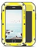 UFinetech Funda iPhone 8 Plus a prueba de golpes, funda iPhone 7 Plus, parachoques de TPU Funda protectora de silicona de metal ultra duro para iPhone 8 Plus/7 Plus Cristal templado Servicio(Amarillo)