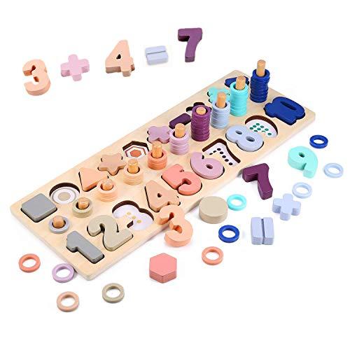 Fisasa 数字パズル 積み木 幼児学習 知育玩具 モンテッソーリ 木製 型はめ 1-10 おもちゃ 数字 ゲーム 学習玩具 ブロック
