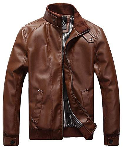 Willlly Bomberjack voor heren, kunstleer, casual blouson chic jack met lange mouwen, opstaande kraag, vintage, fashion biker motorjas leren jas mannen ntel