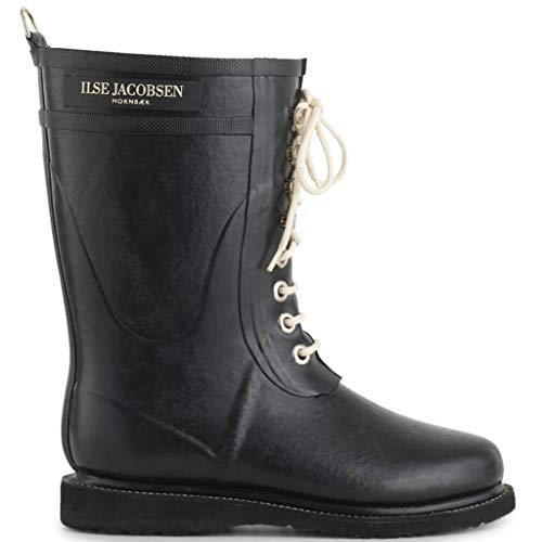 Ilse Jacobsen Damen Gummistiefel | Schuhe aus 100% Natur Bio Gummi | garantiert PVC frei | 3/4 Lange Stiefel mit Schnürsenkel aus 100% Baumwolle | RUB15 Schwarz 41 EU