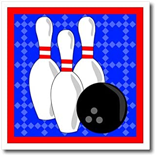 3dRose ht_43149_2 Blue and Red-Bowling Pins and Ball-Iron on Heat Transfer for White Material, 6 by 6-Inch