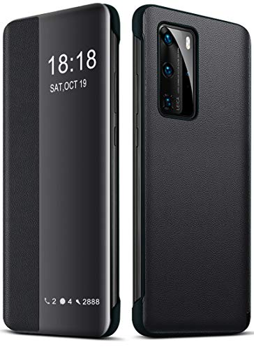 YEESOON Funda Huawei P40 Pro, Función Automática de Reposo y Activación Smart Mirror View Funda con Tapa Cuero Funda Protectora Cuerpo Completo para Huawei P40 Pro - Negro