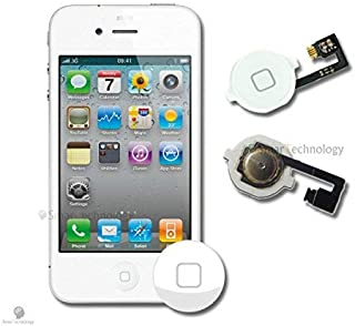 4c499969a57 Home Button para Apple Iphone 4 4 G Blanco Botón Encendido con Flat Flex  Repuesto Completo