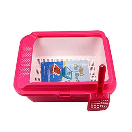 ZM HL MM huisdier toilet vuilnisbak raster voor lekkende kat nest golvende dennenbak, Rood