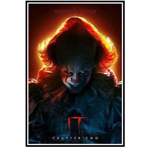 It Chapter 2 Movie Stephen King Horror Pennywise Wall Art Canvas Posters Print Sala de estar Decoración para el hogar -50x70CM Sin marco