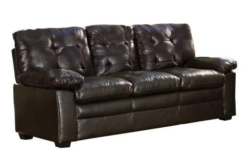 - Homelegance Charley 9715PU-3 Bi-Cast Vinyl Sofa, Dark Brown