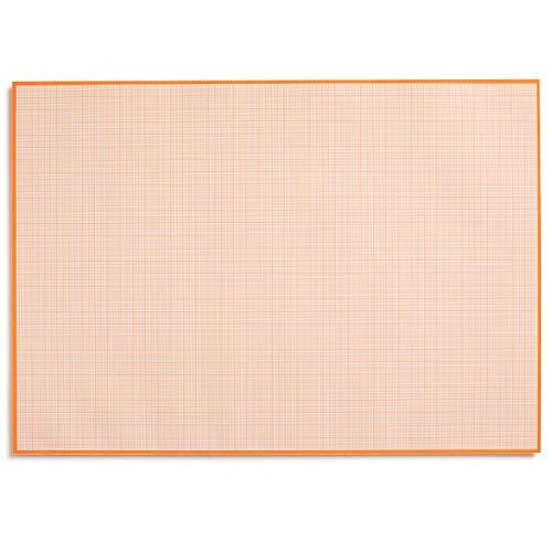 Bloc de papel milimetrado para escribir y esbozar I para arrancar I papel matemático con estructura de líneas I para oficina y escuela, color A2 naranja. DIN A2