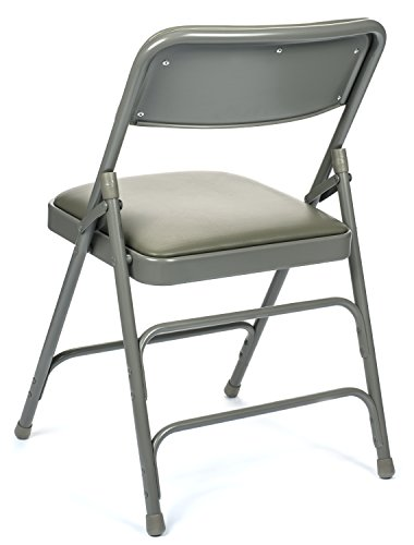 Commercial Vinyl Padded Folding Chair, Triple Cross Bracing, Quad Hinging, 300 lb Tested, 4 Pack (Grey)