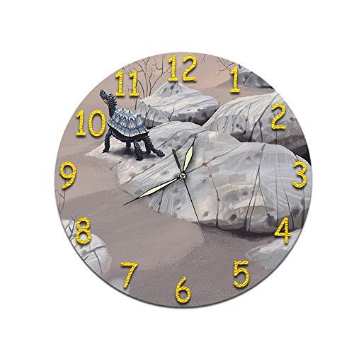 LUOYLYM Uhr Wanduhr Acryl Silent Movement Clock Wandaufkleber Clock Borderless Wecker Dinosaur Pattern D-477 (Luminous Hands) 28CM