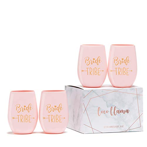 Bachelorette Wine Glasses - 100% Unbreakable Tritan Plastic with Gold Foil Accents - 16 ounces (Pink Tribe, 4)