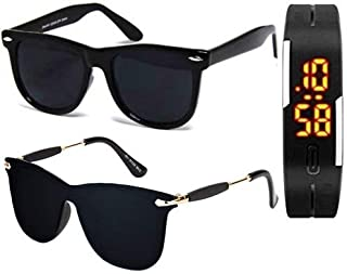 Sheomy UV Protected Aviator Unisex Sunglasses with Digital Watch (Black, 55) - Set of 3