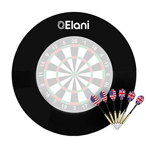 ELANI ® Dartscheibe Schutzring Dart Zubehör inkl. 6 Steeldarts und Zwischenring I Dart Surround Ring Wandschutz I Dart Catchring I Dart Auffangring