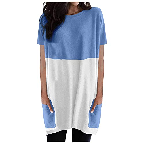 Vestido de verano para mujer, largo hasta la rodilla, elegante, a rayas, holgado, minivestido de camiseta con bolsillos, vestido informal para mujer azul S