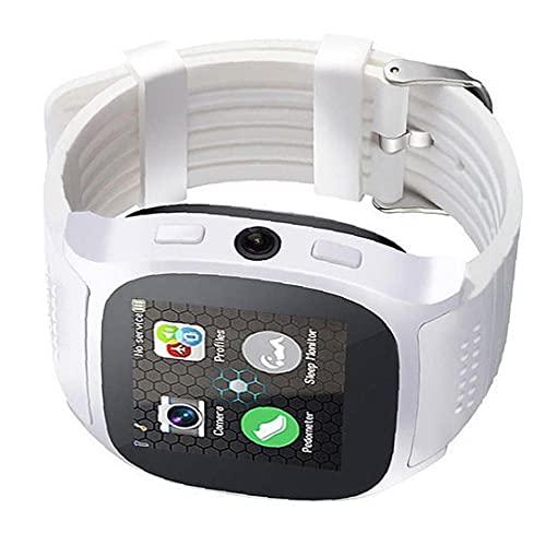 Tuimiyisou Inteligente Reloj de Pulsera Bluetooth Inteligente con Soportes de cámara SIM TF podómetro Deportes de Llamadas de Dibujos Animados, para el Blanco del teléfono móvil
